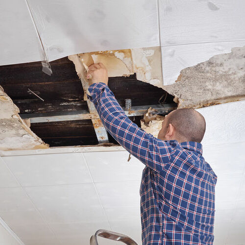 A Ceiling Damaged by a Roof Leak.