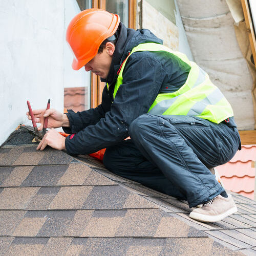 A Roofer Removes Damaged Shingles.