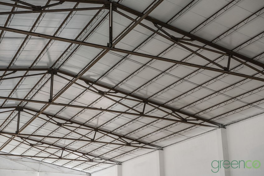 Image Under a Completed Commercial Metal Roof Installation