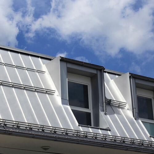 silver standing seam metal roof